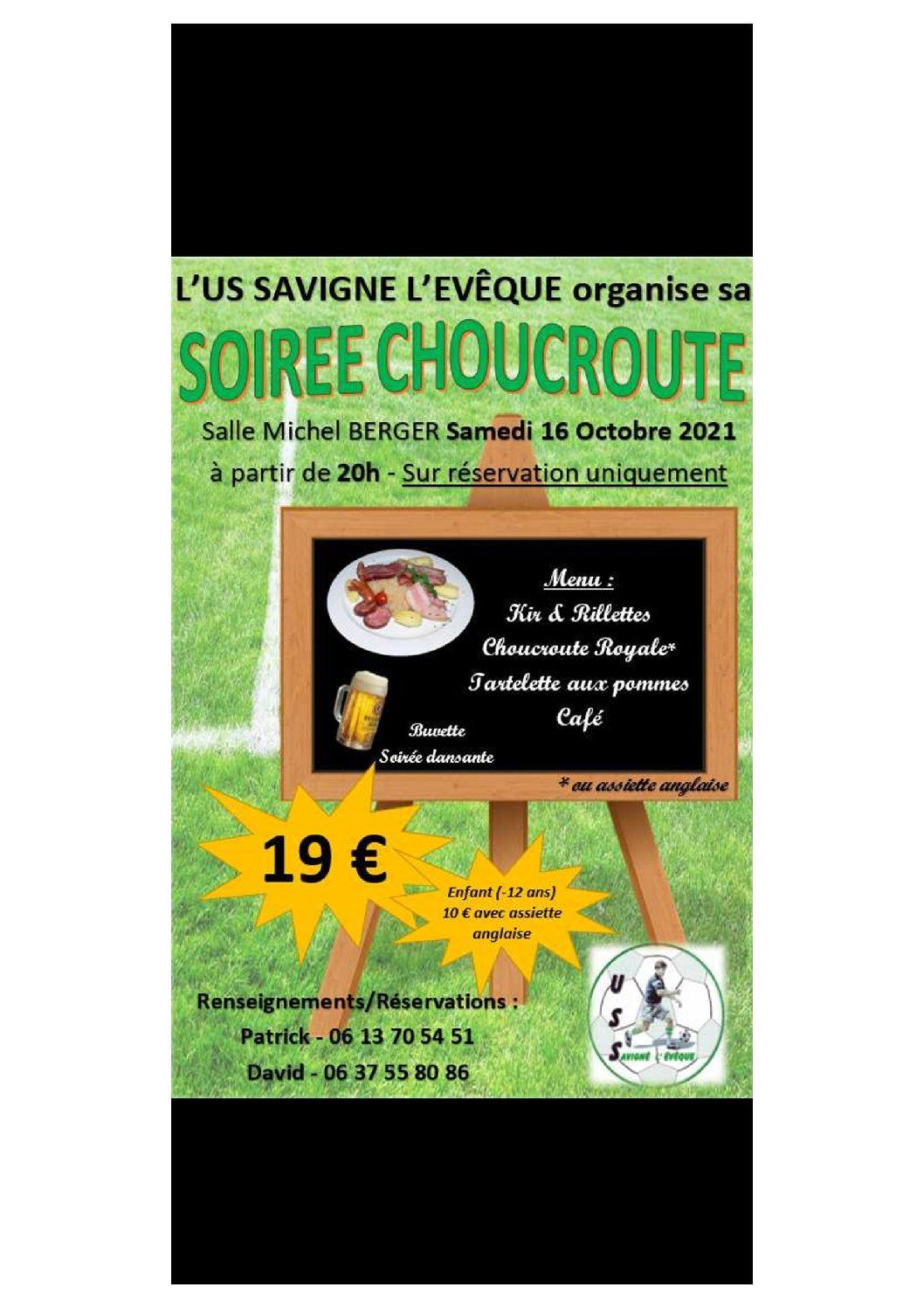 Soirée Choucroute 16/10/21 (ouverte à tous)